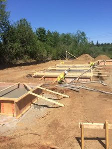 Gas plant - rebar -freshly poured footings by Heikess Contracting
